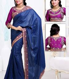 Buy Blue  embroidered satin saree with blouses saree with blouse satin-saree online