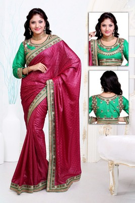 Pink embroidered art silk saree with blouses saree with blouse