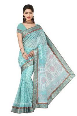 Aqua  printed cotton saree with blouse