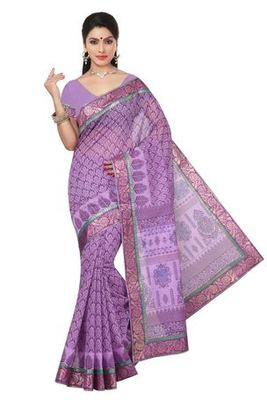 Violet  printed cotton saree with blouse