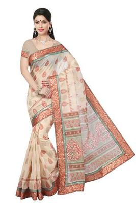 Old rose  printed cotton saree with blouse