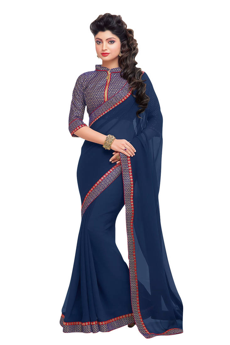 Buy Blue Plain Georgette Lace Border Saree With Brocade