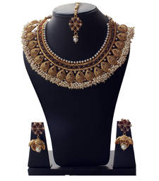 Buy Best-Seller Anqitue Gold Designer Copper Necklace Set with Tiny Pearls black-friday-deal-sale online