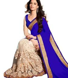 Buy   blue embroidered fancy faux georgette saree with blouse fancy-saree online