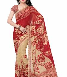 Buy Red printed faux georgette saree with blouse georgette-saree online