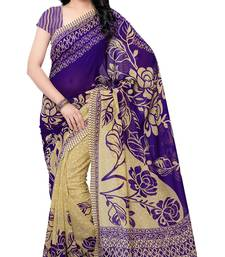 Buy Blue printed faux georgette saree with blouse georgette-saree online