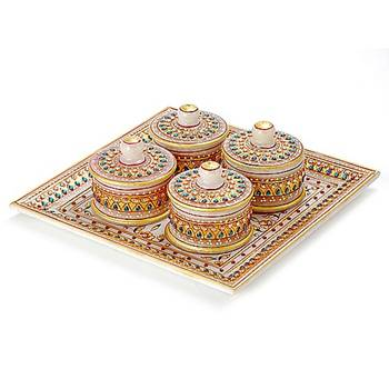 Marvel In Marble - Tray With Containers-045
