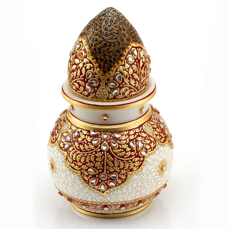 Buy Marvel In Marble Gold Embossed Kalash With Narial 61