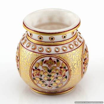 Marvel In Marble - Gold Embossed Round Vase_65
