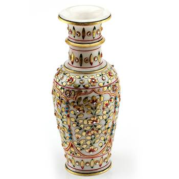 Marvel In Marble - Vase With Embossed Gold And Kundan Work_72