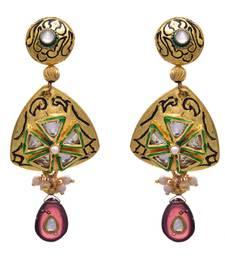 Buy JFL - Stunner Designer One Gram Gold Plated Diamond Purple Earring for Women danglers-drop online