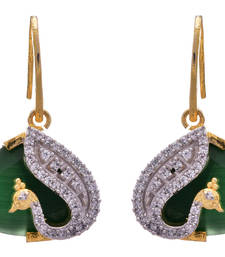 Buy Green gold plated american diamond earrings Earring online
