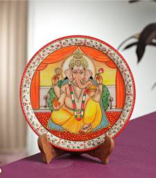 Buy Divinely painted Lord Ganesh Plate decorative-plate online