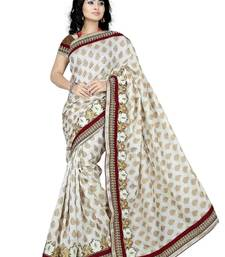 Buy White embroidered viscose saree with blouse viscose-saree online
