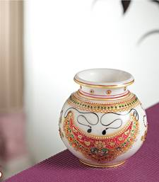 Buy Marble Pot with jewels design pot online