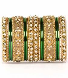 Buy Green zircon   enamel bangles and bracelets pakistani-jewellery online