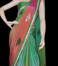 Buy Green shaded chiffon chiffon-saree online
