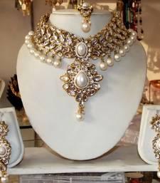 Buy WHITE KUNDAN PEARL DROP CHOKER NECKLACE EARRING TIKA WEDDING  SET black-friday-deal-sale online