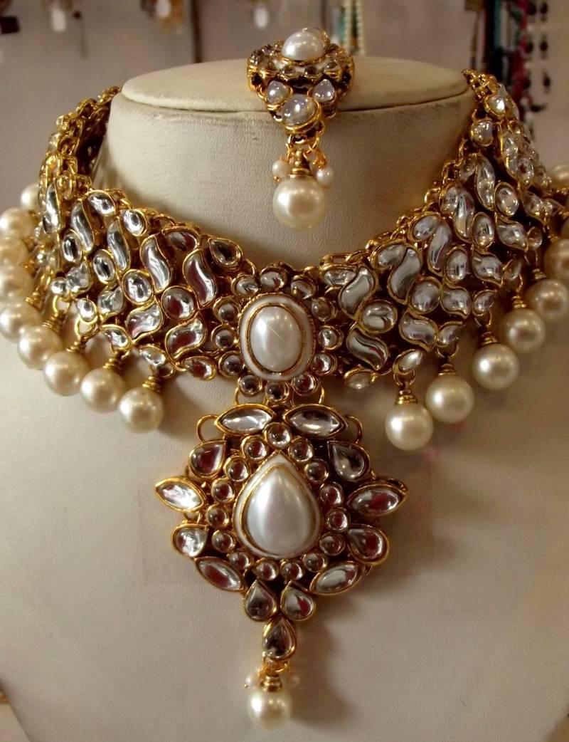 58844498d2c70 White kundan pearl drop choker necklace earring tika wedding set