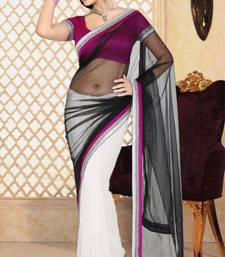Buy Simplistic Black and White Color Net and Faux Georgette Designer Sarees with Blouse net-saree online