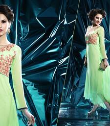 Buy Pista green pure georgete embroidered kurti kurtas-and-kurti online