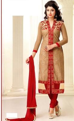 Gold Chanderi Silk Unstitched Salwar With Dupatta