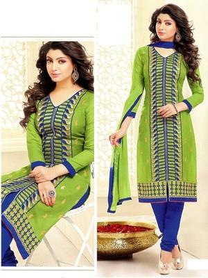 Green Chanderi Silk Unstitched Salwar With Dupatta