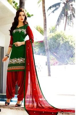 Green Soft Cotton Unstitched Salwar With Dupatta