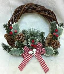 Buy Christmas Rustic pine cone and holly wreath christmas-gift online
