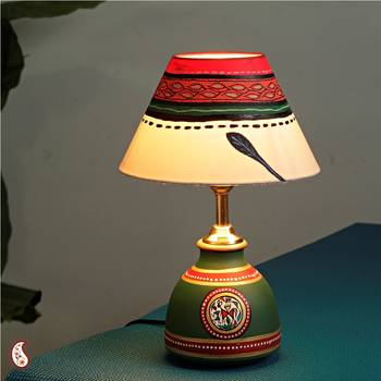 Hand painted terracotta Lamp