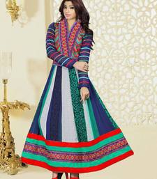 Buy Multicolor georgette embroidered semi stitiched salwar with dupatta anarkali-salwar-kameez online