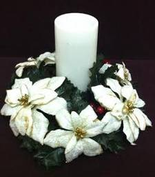 Buy Christmas white Ponsettias candle holder christmas-gift online