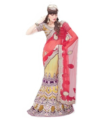 Designer Net Fabric  Red Colored Embroidered Lahenga Saree