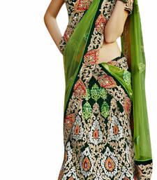 Designer Velvet Fabric  Green Colored Embroidered Lahenga Choli