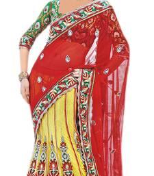Designer Net Fabric  Red Colored Embroidered Lahenga Saree