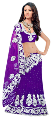 Designer Net Fabric  Purple Colored Embroidered Lahenga Saree