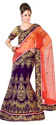 Designer Net Fabric  Purple Colored Embroidered Lahenga Saree