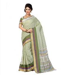 Buy Party Wear Printed Pure cotton Green saree below-300 online