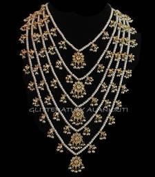 Buy Kundan Pearl Pachlada Rani Haar Necklace bridal-set online