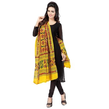 Yellow cotton stole and dupattas