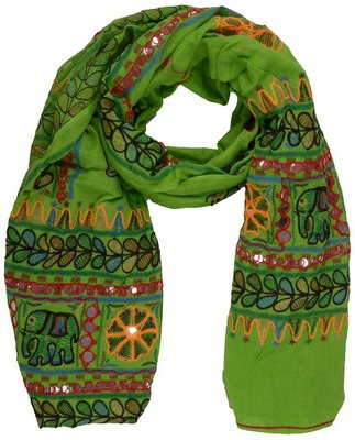 Green cotton stole and dupattas