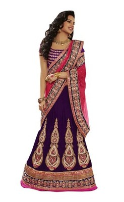 Purple Net Embroiderred Bridal Lehengas