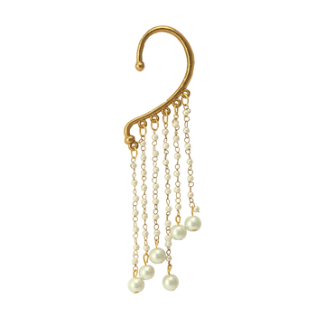 Pankh Golden and White Cuff Earring