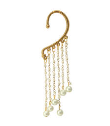 Buy Pankh Golden and White Cuff Earring Other online