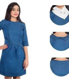 Buy Jaamso Ditachable Collar in Denim Western Dress evening-wear-dress online