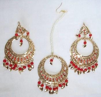 Jadau Maang Tika Earrings Chand Bali Red Orange  Old Plated
