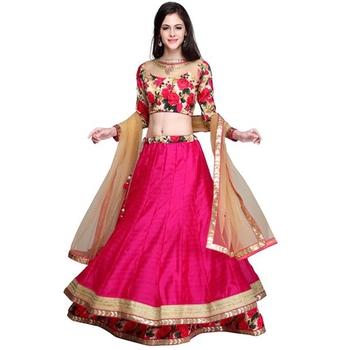 032f79f7df Pink bhagalpuri silk floral print semi stitched lehenga choli - JK  Enterprise - 953165