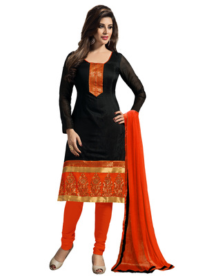 Black embroidered Chanderi and Cotton unstitched salwar with dupatta