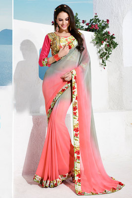 Pink and Grey printed georgette saree with blouse