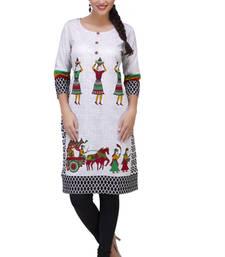 white cotton printed kurti